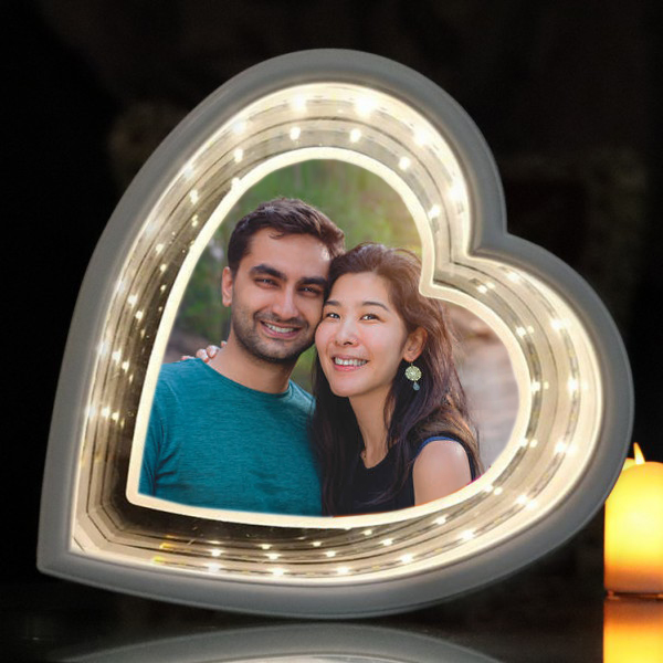 Magic Mirror Heart Shape Frame With Led Light With Photo Print Nangli Photo Color Lab